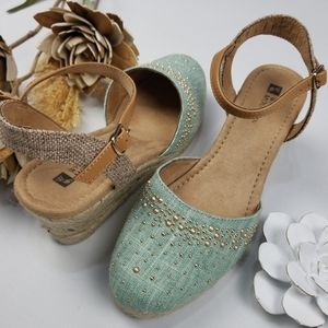 White Mountain Wedge Espadrille Teal Mary Jane 7.5